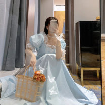 Women's large Summer 2020 blue S m large L Dress singleton  Sweet Short sleeve Solid color other other Princess sleeve Q063002 Xiaoyi 18-24 years old 96% and above longuette Other 100% Pure e-commerce (online only) Princess Dress princess