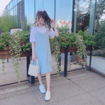 Dress Summer of 2018 Blue black One size fits all & lt; spot & gt; one size fits all & lt; pre-sale 10 days or so & gt; Middle-skirt Two piece set Sleeveless commute square neck Loose waist Solid color other other straps 18-24 years old Type H jnorii Korean version D1647 More than 95% knitting