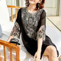 Dress Summer 2021 black L,XL,2XL,3XL,4XL Middle-skirt singleton  three quarter sleeve commute Crew neck Loose waist Abstract pattern Socket A-line skirt other Others 30-34 years old Type A Cymbidium hybridum Korean version Hollow out, embroidery K20B200342 30% and below nylon