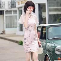 cheongsam Spring 2020 S,M,L,XL,XXL Pink Short sleeve Short cheongsam other silk 51% (inclusive) - 70% (inclusive)