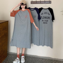 Dress Summer 2021 Navy brick red black M L XL longuette singleton  Short sleeve commute Crew neck Loose waist letter Socket other routine Others 18-24 years old Type H Miss Song Korean version Patchwork printing QQ270 51% (inclusive) - 70% (inclusive) other polyester fiber