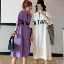 Dress Summer 2021 White purple black light grey Average size longuette singleton  Short sleeve commute Polo collar Loose waist letter zipper Big swing routine Others 18-24 years old Type H Miss Song Korean version Zipper printing QQ16 51% (inclusive) - 70% (inclusive) other polyester fiber