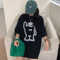 Women's large Summer 2021 White black M L XL XXL T-shirt singleton  commute easy thin Socket Short sleeve Korean version Crew neck Medium length routine Miss Song 18-24 years old Polyester 63.4% cotton 34.1% polyurethane elastic fiber (spandex) 2.5% Pure e-commerce (online only)