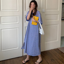 Women's large Summer 2021 Blue and white bar black and white bar Average size Dress singleton  commute easy thin Socket three quarter sleeve stripe Korean version Crew neck Medium length cotton printing and dyeing routine QQ542 Miss Song 18-24 years old 31% (inclusive) - 50% (inclusive) longuette