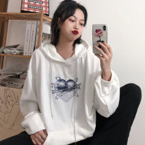Sweater / sweater Winter 2020 White black M L XL Long sleeves routine Socket singleton  Plush Hood easy commute routine Cartoon animation 18-24 years old 96% and above Miss Song Korean version polyester fiber cotton Polyester 100% Pure e-commerce (online only)