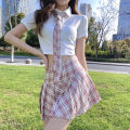 Fashion suit Summer 2021 S M L [white polo shirt for blue tie] [white polo shirt for pink tie] [pink pleated skirt] [blue pleated skirt] 18-25 years old Miss Song qw9 Cotton 100% Pure e-commerce (online only)