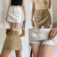 skirt Autumn 2020 XS,S,M,L,XL Black, white, gray, light blue, light khaki Short skirt Versatile High waist A-line skirt Solid color Type A 18-24 years old GM015 Denim cotton Pocket, make old
