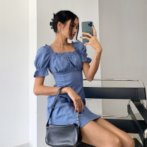 Dress Autumn 2020 blue S,M,L Short skirt singleton  Short sleeve street square neck High waist Solid color other A-line skirt puff sleeve Others 18-24 years old Type A fungus 71% (inclusive) - 80% (inclusive) other acrylic fibres