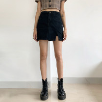 skirt Autumn 2020 S,M,L,XL Short skirt commute High waist A-line skirt Solid color Type A 18-24 years old other other Button