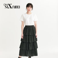 Dress Summer 2020 White + Black Average size longuette Two piece set Short sleeve Sweet Crew neck Elastic waist Dot Socket Cake skirt routine Others 25-29 years old Type A Be about to... printing H216433 91% (inclusive) - 95% (inclusive) Chiffon cotton college