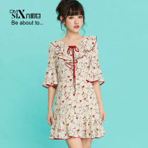 Dress Summer of 2018 Broken flowers S M L Mid length dress singleton  elbow sleeve Sweet Crew neck Loose waist Socket Ruffle Skirt Lotus leaf sleeve Hanging neck style 25-29 years old Type A More than 95% polyester fiber Polyester 100% college