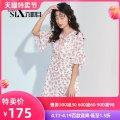 Dress Summer of 2019 Broken flowers S M L Short skirt singleton  Short sleeve Sweet V-neck middle-waisted Decor zipper A-line skirt Lotus leaf sleeve Others 18-24 years old Type A Be about to... Bow and ruffle lace printing G225857 More than 95% Chiffon polyester fiber Polyester 100% Countryside