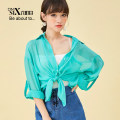 Lace / Chiffon Summer of 2018 green Average size Long sleeves Original design Cardigan singleton  easy Regular Polo collar Solid color 18-24 years old Pocket button Polyester 100%