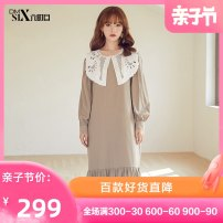 Dress Summer of 2019 Coffee Average size Mid length dress 25-29 years old Be about to... H125069 51% (inclusive) - 70% (inclusive) polyester fiber Polyester 65% viscose 35%