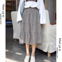 skirt Summer of 2019 S M L XL Black and white Mid length dress commute High waist A-line skirt lattice Type A 18-24 years old More than 95% other Manyashi other Lotus leaf edge Korean version Other 100% Pure e-commerce (online only)