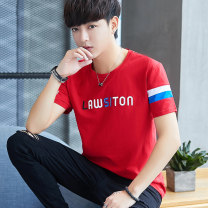 T-shirt Youth fashion thin M L XL 2XL 3XL NWL Short sleeve Crew neck Self cultivation daily summer Cotton 95% polyurethane elastic fiber (spandex) 5% youth routine tide Summer 2020 Alphanumeric Embroidery cotton other No iron treatment Fashion brand Pure e-commerce (online only)