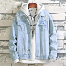 Jacket LPW Youth fashion M L XL XXL XXXL routine standard Other leisure autumn Cotton 91.4% regenerated cellulose 5.2% polyester 3.4% Long sleeves Wear out Lapel tide teenagers routine Single breasted other No iron treatment Closing sleeve Solid color Denim Autumn of 2019 Button decoration