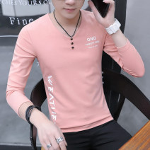 T-shirt Youth fashion routine M L XL XXL XXXL LPW Long sleeves V-neck Self cultivation daily autumn NTX9010S Cotton 94.5% polyurethane elastic fiber (spandex) 5.5% youth routine tide Autumn of 2019 Alphanumeric printing The thought of writing No iron treatment Fashion brand