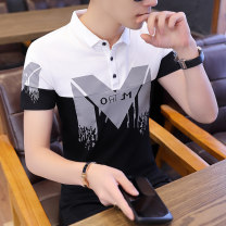 T-shirt Youth fashion routine M L XL XXL XXXL LPW Short sleeve Lapel Self cultivation Other leisure Four seasons Cotton 95% polyurethane elastic fiber (spandex) 5% youth routine Youthful vigor other Summer of 2019 Alphanumeric Embroidered logo other No iron treatment Fashion brand