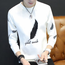T-shirt Youth fashion Feather white feather black C13 (HAT) white C13 (HAT) black C12 (umbrella) white C12 (umbrella) black C04 (wolf head) white C04 (wolf head) black routine XXL XXXL M L XL LPW Long sleeves Crew neck Self cultivation Other leisure autumn WER269 teenagers routine tide Woven cloth