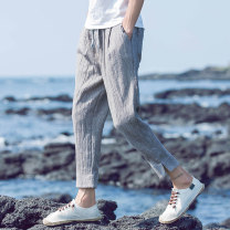 Casual pants LPW Youth fashion XXL XXXL XXXXL XXXXXL M L XL thin Ninth pants Other leisure easy No bullet summer youth tide 2019 Medium low back Little feet Polyester 76.6% cotton 17.2% flax 5.6% others 0.6% Haren pants Arrest line washing Solid color other Summer of 2019
