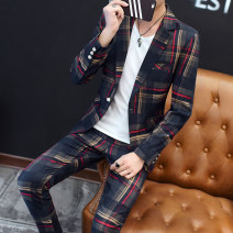 man 's suit LPW Youth fashion routine M L XL XXL XXXL Polyester 70.8% viscose 29.2% Autumn of 2018 Self cultivation A single breasted button Other leisure No slits Pure e-commerce (online only) youth Long sleeves Four seasons routine tide Casual clothes Straight hem Geometric pattern