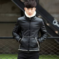 leather clothing LPW Youth fashion Black Khaki M L XL XXL XXXL XXXXL have cash less than that is registered in the accounts Imitation leather clothes Lapel Slim fit zipper winter leisure time youth PU tide RTY5 Rib hem Side seam pocket Rib bottom pendulum Autumn of 2018 Pure e-commerce (online only)