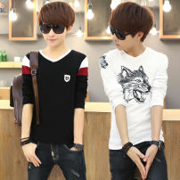 T-shirt Youth fashion thin M L XL XXL XXXL LPW Long sleeves V-neck Self cultivation Other leisure spring AN123 Cotton 94.6% polyurethane elastic fiber (spandex) 5.4% teenagers routine tide Cotton wool Summer of 2018 Solid color Assembly Animal design washing Fashion brand