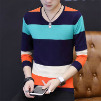 T-shirt Youth fashion Ali 601 long sleeve green Ali 601 long sleeve orange routine M L XL XXL XXXL LPW Long sleeves V-neck Self cultivation daily autumn ZY489 Polyester 80% viscose 20% youth routine tide Bead mesh Summer of 2018 stripe other No iron treatment Domestic non famous brands
