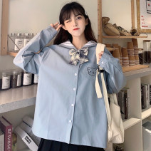 T-shirt Blue white M L XL XXL Autumn 2020 Long sleeves Polo collar Straight cylinder Regular routine Sweet cotton 86% (inclusive) -95% (inclusive) 18-24 years old originality Han Xuan Cotton 93.1% polyurethane elastic fiber (spandex) 6.9% Pure e-commerce (online only) solar system