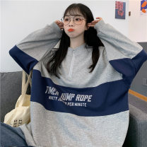 Sweater / sweater Autumn 2020 Grey blue M L XL Long sleeves routine Socket singleton  routine stand collar easy commute routine letter 91% (inclusive) - 95% (inclusive) Han Xuan Korean version cotton XM - six thousand one hundred and sixty-nine Splicing Cotton liner Pure e-commerce (online only)