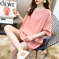 Women's large Summer 2020 Pink white red green blue black yellow M (within 110 kg recommended) l (110-135 kg recommended) XL (135-160 kg recommended) XXL (160-190 kg recommended) T-shirt singleton  commute easy moderate Socket Short sleeve Solid color Korean version Crew neck Medium length cotton