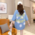 Women's large Summer 2020 Blue pink white M L XL T-shirt singleton  commute easy thick Socket elbow sleeve Korean version Crew neck Medium length cotton printing and dyeing other Han Xuan Asymmetry 91% (inclusive) - 95% (inclusive) Cotton 93.1% polyurethane elastic fiber (spandex) 6.9% other