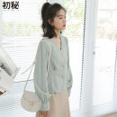 shirt Fresh blue S M L Spring 2020 cotton 96% and above Long sleeves Versatile Regular V-neck Single row multi button routine Solid color 18-24 years old Straight cylinder Kmiocmiin CMJJ8012 Button Cotton 100% Exclusive payment of tmall
