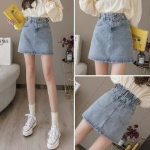 skirt Spring 2021 S,M,L,XL blue Short skirt Versatile High waist Denim skirt Solid color Type A 18-24 years old More than 95% Denim SANDRO QUEEN other Rivets, pleats, folds, pockets, tridimensional decorations, buttons