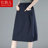 skirt Summer 2020 M L XL 2XL 3XL Navy green Khaki Mid length dress commute High waist A-line skirt Solid color Type A 40-49 years old HYLY2088 More than 95% Red rhyme cotton pocket Korean version Cotton 100% Pure e-commerce (online only)