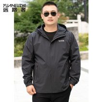 Jacket A long way Fashion City Grey black blue 4XL 5XL 6XL L XL 2XL 3XL routine easy Other leisure autumn Polyester 95% polyurethane elastic fiber (spandex) 5% Long sleeves Wear out Hood tide Large size routine Zipper placket Cloth hem No iron treatment Closing sleeve Solid color Autumn of 2019 other
