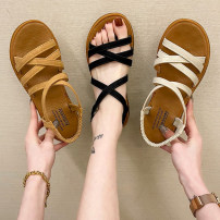 Sandals 35 36 37 38 39 40 Brown off white black PU Youaisha Barefoot Flat bottom Low heel (1-3cm) Summer 2021 Flat buckle Korean version Solid color Adhesive shoes Youth (18-40 years old) rubber daily Back space Roman style Low Gang Hollow PU PU weqw65123e0.qwe5641q3w20 Roman shoes Shaving Women's