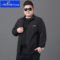Jacket Arozochet / Asian Finch Youth fashion Black blue gray [Plush] 551 # black [Plush] 551 # blue [Plush] 551 # gray XL 2XL 3XL 4XL 5XL 6XL 7XL 8XL easy Other leisure autumn YZQ-MP523-1 Polyamide fiber (nylon) 90% polyurethane elastic fiber (spandex) 10% Long sleeves Wear out Lapel Youthful vigor