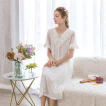 Nightdress Other / other Black, white, orange, purple, blue, dark pink One size fits all (about 90-140 kg) Sweet Short sleeve pajamas longuette summer Solid color youth V-neck cotton lace More than 95% Knitted cotton fabric 8A317 200g and below