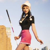 skirt Summer 2020 S,M,L Pink Short skirt street Natural waist stripe Type A Other / other