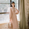 Dress Spring 2021 Apricot, pink S,M,L longuette singleton  Long sleeves Sweet Doll Collar High waist Solid color Socket A-line skirt routine Others 18-24 years old Type A Tie, bow BR2021R9623N 31% (inclusive) - 50% (inclusive) brocade cotton solar system