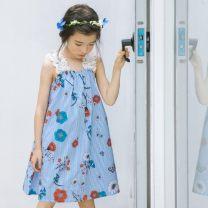 Dress wathet female Other / other 160cm,150cm,140cm,130cm,120cm,110cm Cotton 95% other 5% summer Korean version Skirt / vest cotton A-line skirt Class B 14, 12, 13, 11, 10, 9, 8, 7, 6, 5, 3, 4