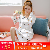 Nightdress Beautiful sleep M L XL XXL Cartoon Long sleeves pajamas Middle-skirt autumn Cartoon animation youth V-neck cotton printing More than 95% pure cotton 200g and below Autumn of 2019 Cotton 100% Pure e-commerce (online only)