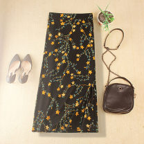 skirt Summer 2020 S,M,L,XL,2XL black Mid length dress commute High waist skirt Decor Type O Five pointed star chiffon skirt with black background 31% (inclusive) - 50% (inclusive) other other Zipper, print Retro