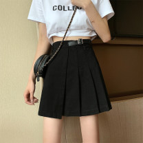 skirt Spring 2021 S M L XL 2XL 3XL 4XL 5XL Black light blue Short skirt Versatile High waist Pleated skirt Solid color Type A 18-24 years old 8837# 71% (inclusive) - 80% (inclusive) Denim Dream Piano cotton Cotton 80% other 20%