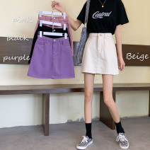 skirt Summer 2020 S M L XL 2XL 3XL 4XL 5XL White Black Purple Pink dark blue white (with lining) black (with lining) Short skirt High waist A-line skirt Solid color Type A #9901 More than 95% Denim Dream Piano cotton Cotton 98% other 2%