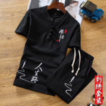 T-shirt Youth fashion thin M L XL XXL XXXL XXXXL XXXXXL KHJ (clothing) Short sleeve V-neck easy Other leisure summer PRSL2 Cotton 100% youth routine Chinese style Summer of 2019 Ethnic style Embroidery Retro nationality No iron treatment Fashion brand Pure e-commerce (online only)