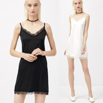 Vest sling Summer of 2019 Black and white S M L XL XXL singleton  Medium length easy Versatile camisole Solid color 25-29 years old 96% and above polyester fiber Beautiful appearance Lace Polyester 100% Pure e-commerce (online only)