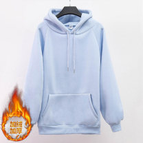 Sweater / sweater Winter 2020 White, black, light blue, yellow, orange, dark blue, ginger, dark green, pink, cowboy blue S,M,L,XL,2XL Long sleeves Medium length Socket singleton  thickening Hood easy bishop sleeve Solid color 96% and above Meng Yifei polyester fiber polyester fiber